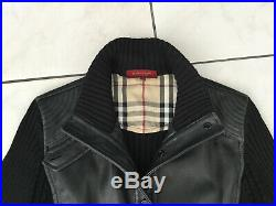 Veste, blouson en cuir et laine BURBERRY taile 40/42 noir bon etat 1295