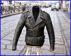 Veste blouson en cuir gris original moto IXS vintage 70 ans taille M