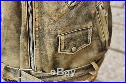 Veste blouson en cuir gris vieilli PERFECTO motorrad biker made in italy size L