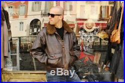 Veste blouson en cuir marron AVIREX G1 original aviateur made in U. S. A