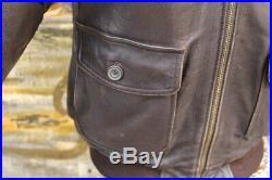 Veste blouson en cuir marron AVIREX G1 original aviateur made in U. S. A. Taille L