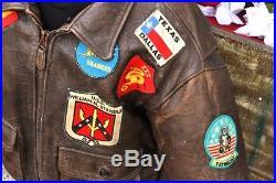 Veste blouson en cuir marron Avirex G1 Top Gun original vintage taille L