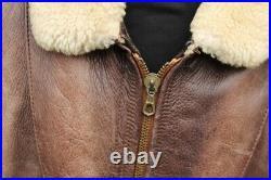 Veste blouson en cuir marron CHEVIGNON vintage 80 original aviateur taille XL