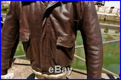 Veste blouson en cuir marron SCHOTT 184 Sm vintage brown taille L/XL