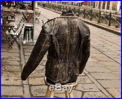 Veste blouson en cuir marron original moto vintage 70 ans taille S