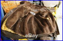 Veste blouson en cuir marron vieilli Schott 184 sm original vintage taille L