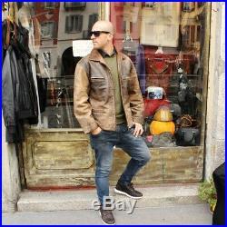Veste blouson en cuir marron vieilli aviateur italienne taille XL