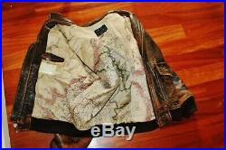 Veste blouson en cuir marron vieilli rare AVIREX G1 original aviateur taille XL
