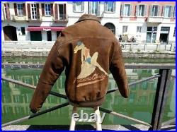 Veste blouson en cuir marron vintage Avirex A2 Pin up flight jacket M usa (L eu)