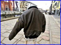 Veste blouson en cuir marron vintage Top Gun flight jacket aviateur taille XXL