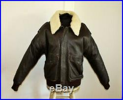 Veste blouson en cuir marrone original aviateur Col en fourrure blanche taille L