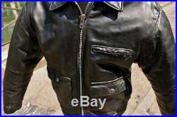 Veste blouson en cuir noir SCHOTT NYC vintage original aviator taille L/XL