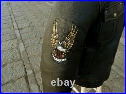Veste blouson en cuir noir vintage original AVIREX M 1941 6 aviator taille XXL