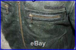 Veste blouson en cuir vert vieilli de moto aviateur vintage AVIREX taille L
