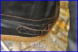 Veste blouson en cuir vintage aviateur b3 DIESEL finitions en peau de mouton XXL