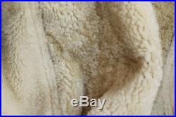 Veste blouson en peau cuir de mouton blanc vintage des années 70 taille L