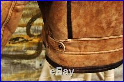 Veste blouson en peau de mouton marron shearling cockpit raf vintage B3 XL