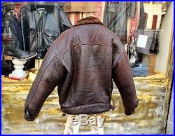 Veste blouson en peau de mouton shearling Bomber cockpit vintage marron XXL