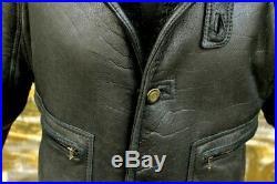 Veste blouson en peau de mouton shearling noir aviateur vintage 80 taille 52 XL