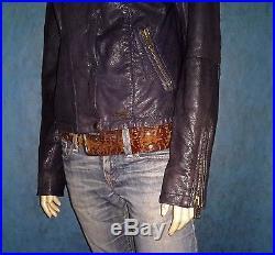 Veste blouson femme SUPERDRY en cuir de chêvre taille M SUPER ETAT