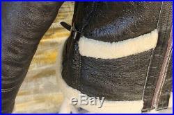 Veste blouson gilet en cuir de mouton shearling cockpit raf b3 rocky taille L