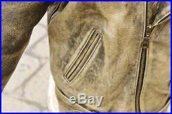 Veste blouson perfecto en cuir brun agé vintage biker motard caferacer size L