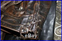Veste blouson perfecto en cuir brun marron foncé agé vintage biker motard size L