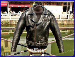 Veste blouson perfecto en cuir vintage REDSKINS biker motard caferacer size L