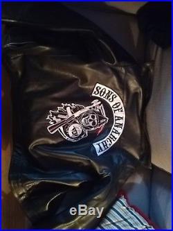 Veste blouson vrai cuir épais Sons of Anarchy Jacket M size motard Motorclub