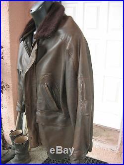 Veste caban blouson Mac DOUGLAS cuir marron parka bomber jacket leather XL