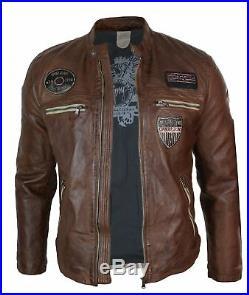 Veste courte motard course badge cuir véritable marron clair vintage rétro homme
