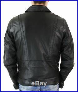 Veste courte zippée cuir véritable noir coupe ajustée classique rétro homme
