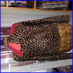 Veste cuir blouson heimstone leopard et rouge neuf taille 38 biker perfecto