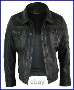 Veste cuir véritable homme rétro style veste en jean biker coupe courte