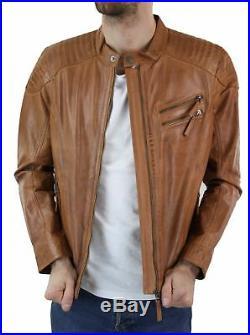 Veste cuir véritable marron clair homme style chic décontracté biker sans col