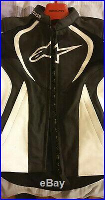 Veste de Moto en Cuir ALPINESTARS, taille 42 de couleur noir et blanc, neuf