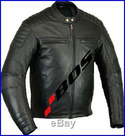 Veste de Moto en Cuir Blouson Motard-Noir, Blouson Veste En Cuir Homme Neuf, XL