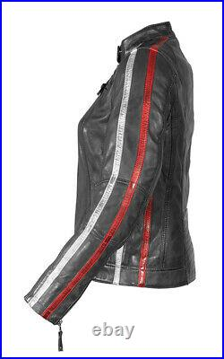 Veste de Moto en Cuir Rusty Stiches Union Jack Uma Couleur Gris Taille 40D