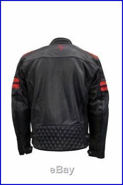 Veste de Moto en Cuir Rusty Stitches Jari Couleur Marine/Rouge Taille 52-L