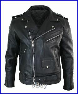 Veste de moto Brando motard cuir véritable de vache fermeture diagonale homme