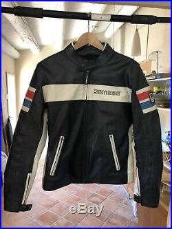 Veste de moto cuir Dainese HF D1 TAILLE 48 noir blanc bleu rouge vintage