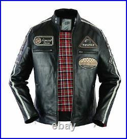 Veste de moto en cuir pour homme, veste en cuir véritable avec armure CE