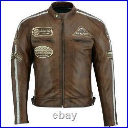Veste de moto en cuir vintage de Cafe Racer, veste en cuir pour hommes