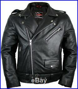 Veste en Cuir Rockerjacke Rocker Punk Moto Western Highway Rockabilly Vélo