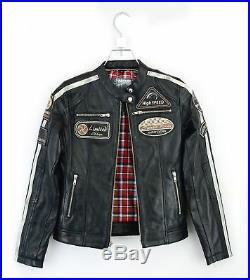 Veste en Cuir de Dames Cuir Véritable Broderie Moto Matelassé Veste XS-2XL