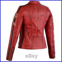 Veste en Cuir de Dames Motard Moto Rouge, Noir