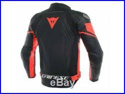 Veste en cuir Dainese Racing 3 Noir / Noir / Rouge-fluo
