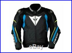 Veste en cuir Dainese Super Speed 3 Noir Bleu Jaune Fluo