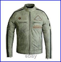 Veste en cuir de moto d'hommes, veste de motard de mode, cuir véritable