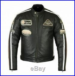 Veste en cuir moto, veste en cuir Biker Chopper Café Racer noir, taille S à 5XL